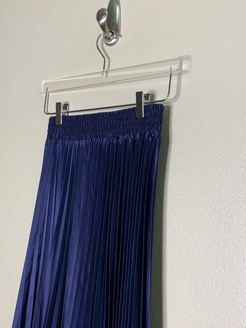 SATIN PLEATED LONG SKIRT, NAVY - Trendy Fox Boutique