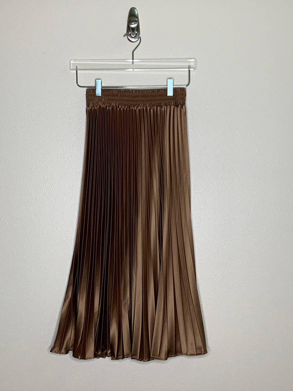 SATIN PLEATED LOMG SKIRT, BROWN - Trendy Fox Boutique