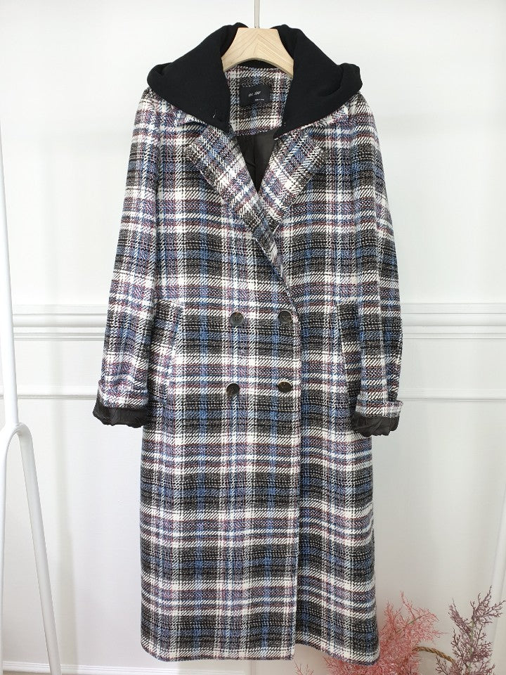 EVA PLAID COAT WITH REMOVANLE HOODED, NAVY PLAID - Trendy Fox Boutique