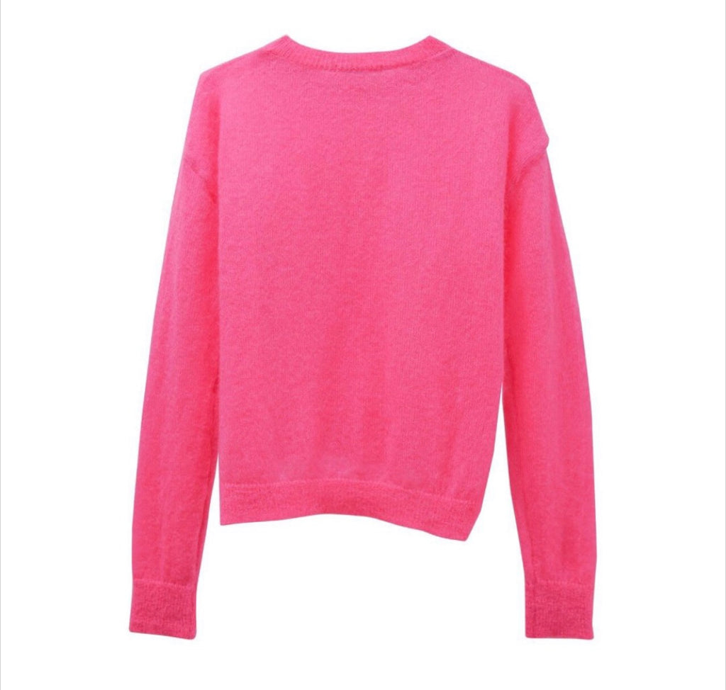 ALPACA KID OVERSIZED SHEER CROPPED KNIT, PINK - Trendy Fox Boutique