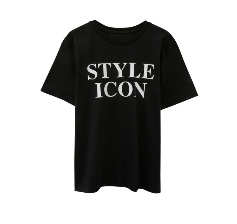 STYLEICON PRINT T-SHIRT, BLACK - Trendy Fox Boutique