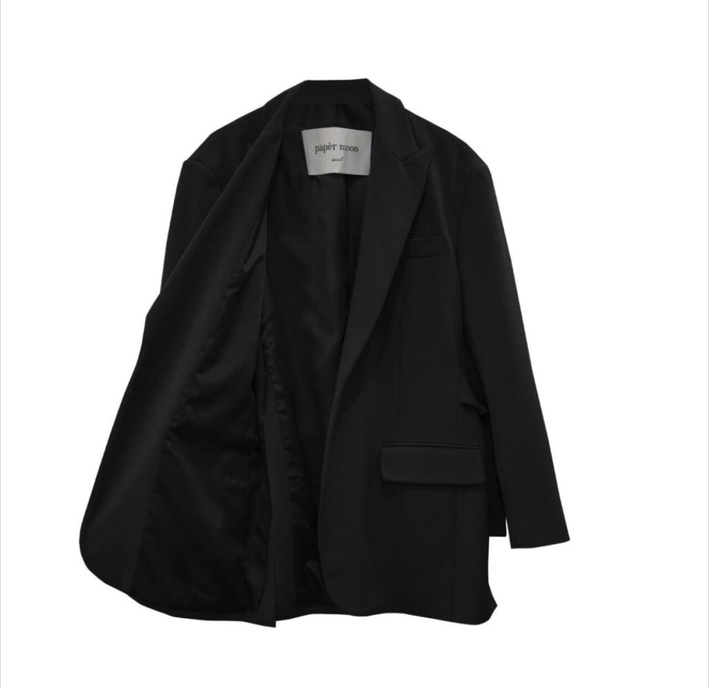 BACK BELTED OVERSIZED BLAZER, BLACK - Trendy Fox Boutique