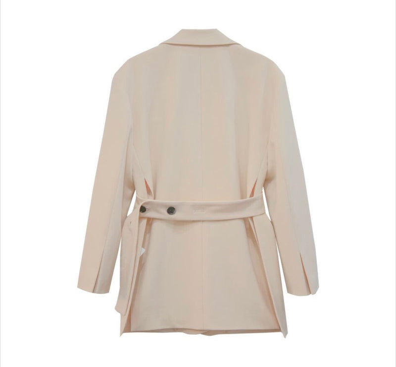 BACK BELTED OVERSIZED BLAZER,WHITE - Trendy Fox Boutique