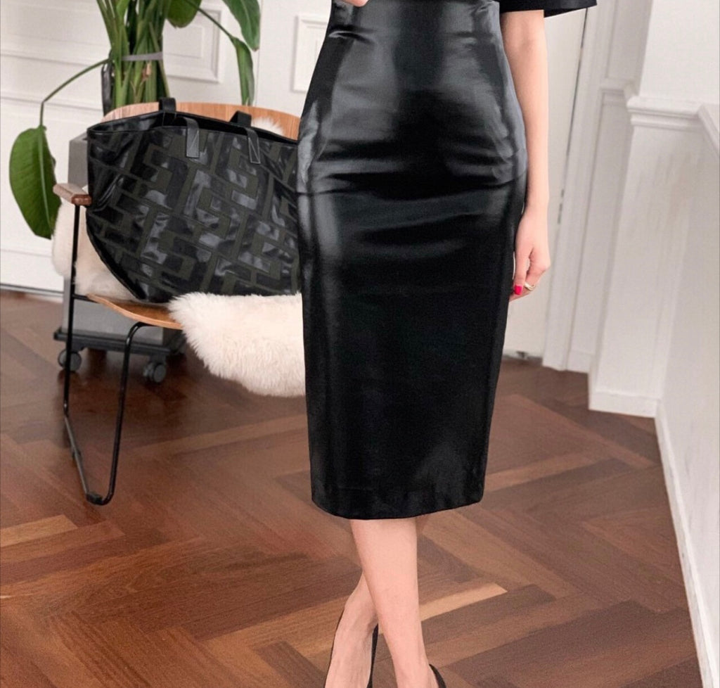 LEATHER PENCIL SKIRT, BLACK - Trendy Fox Boutique