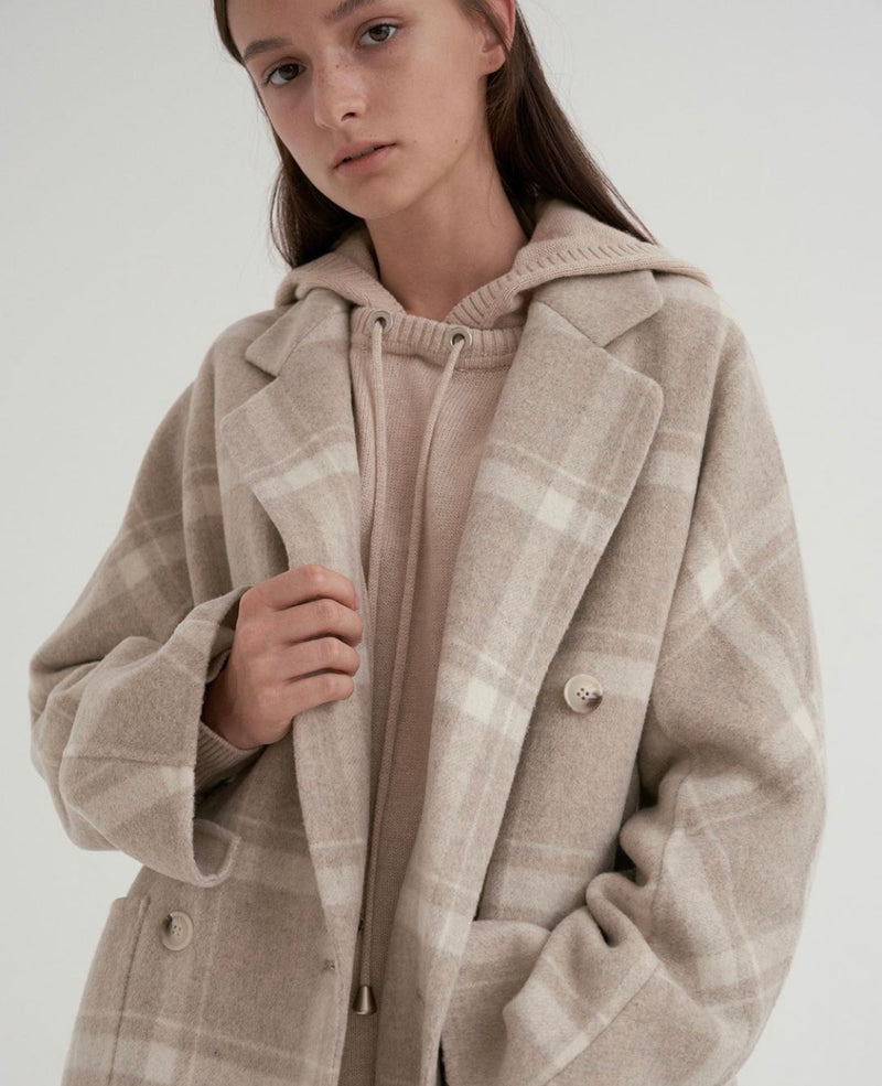 100% WOOL CHECK COAT - Trendy Fox Boutique