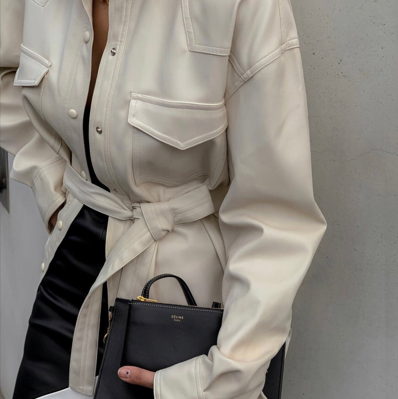 Belted Leather Shirt - Trendy Fox Boutique