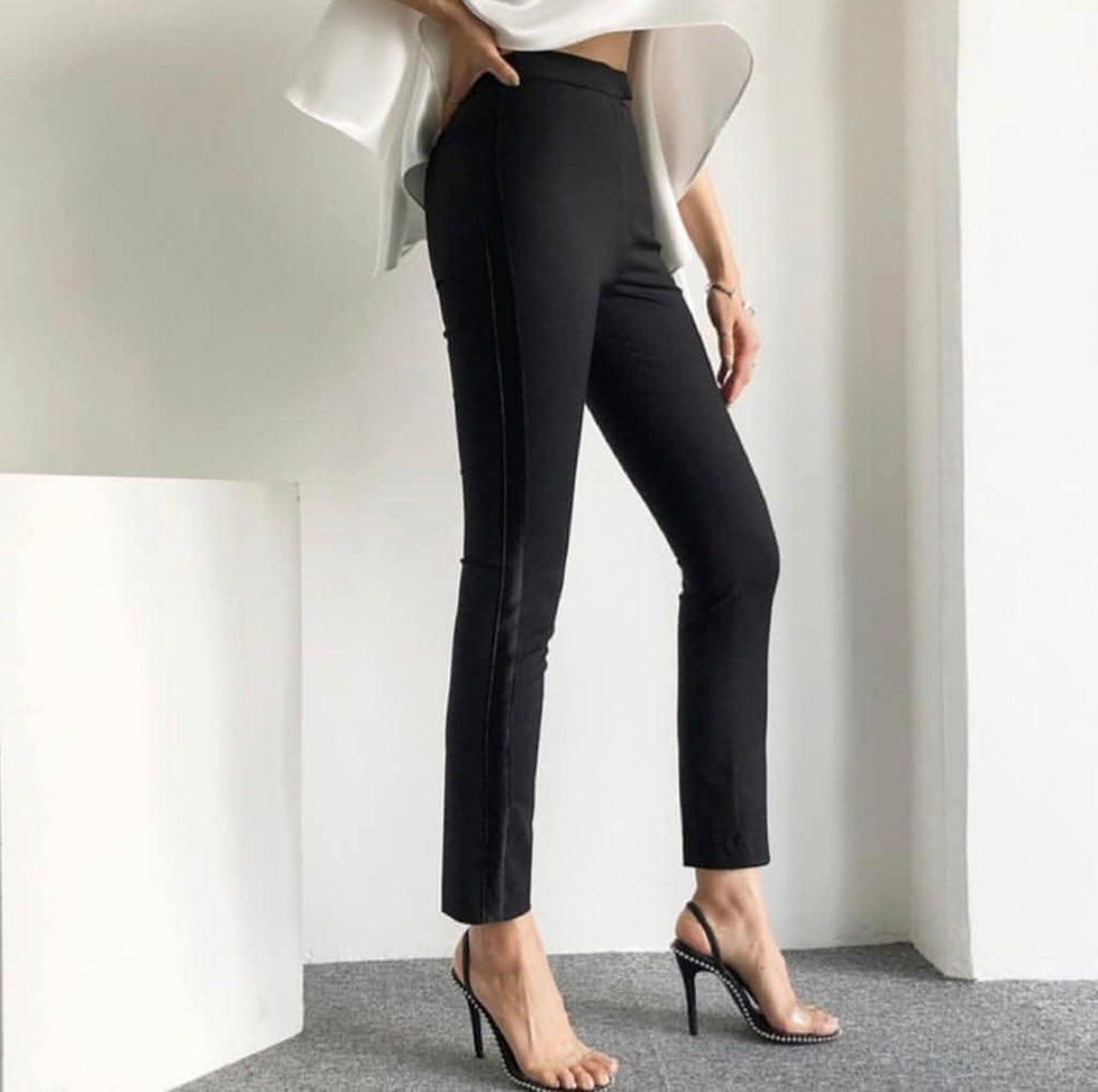 SILK SIDE STRIPES SLACKS PANTS - Trendy Fox Boutique