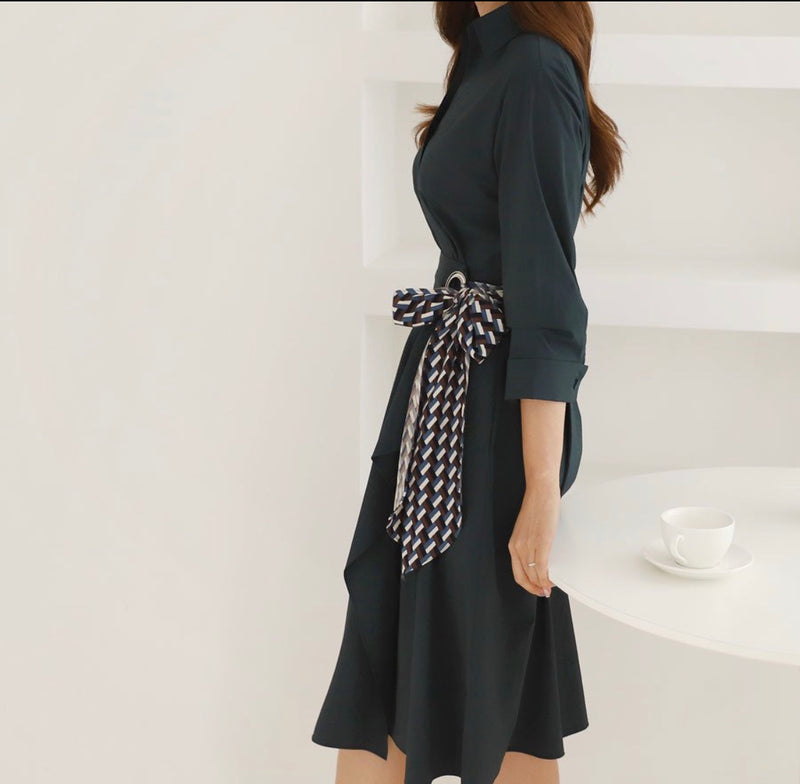Scarf Belted Shirt Dress - Trendy Fox Boutique