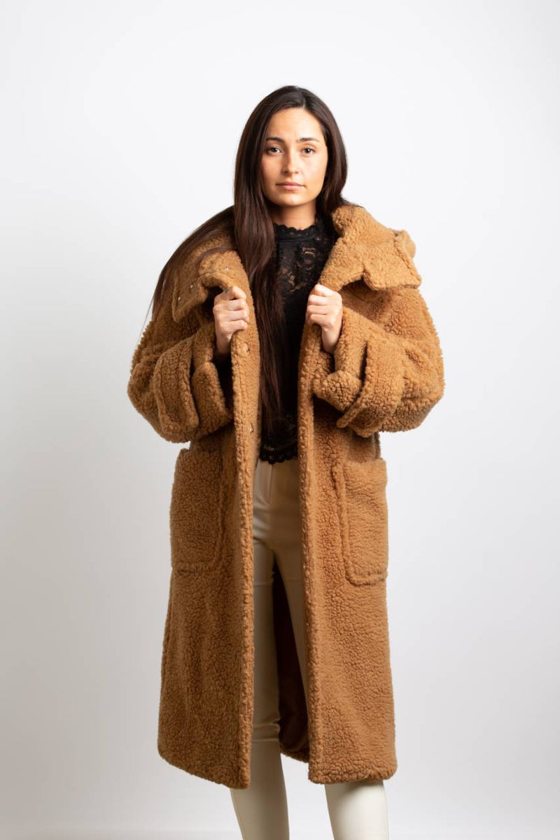 MIDI TEDDY COAT WITH HOODED - Trendy Fox Boutique