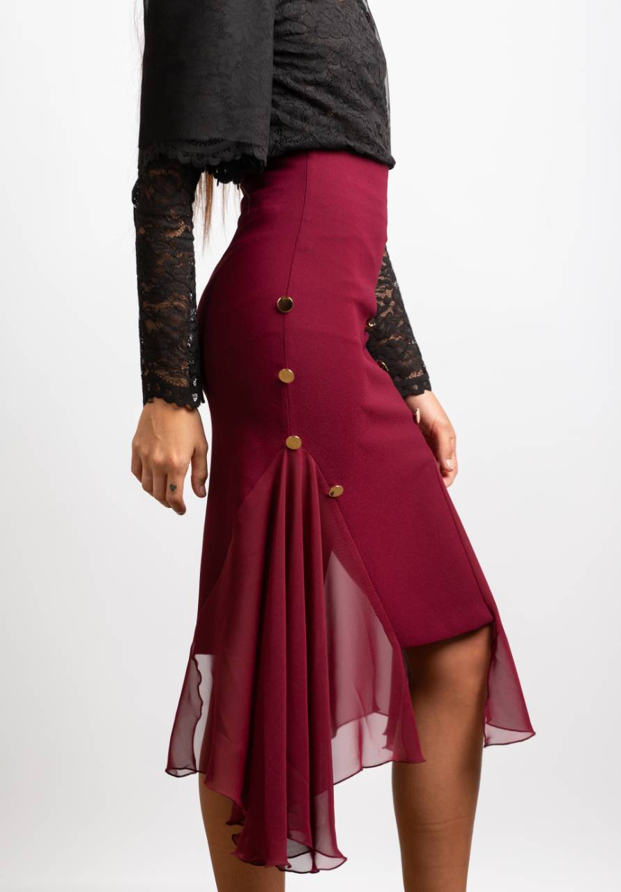BRASS BUTTON MIDI SKIRT, BURGUNDY - Trendy Fox Boutique