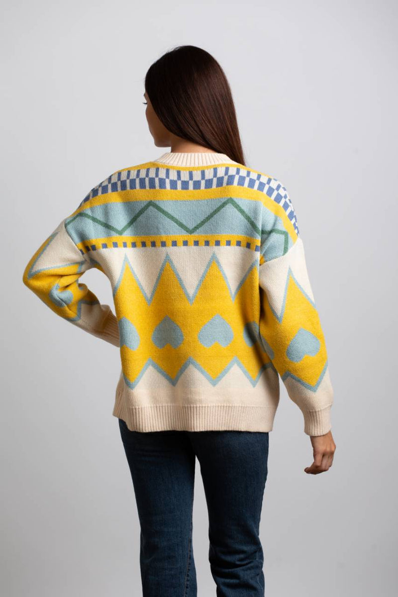HEART CABLE KNIT SWEATER - Trendy Fox Boutique