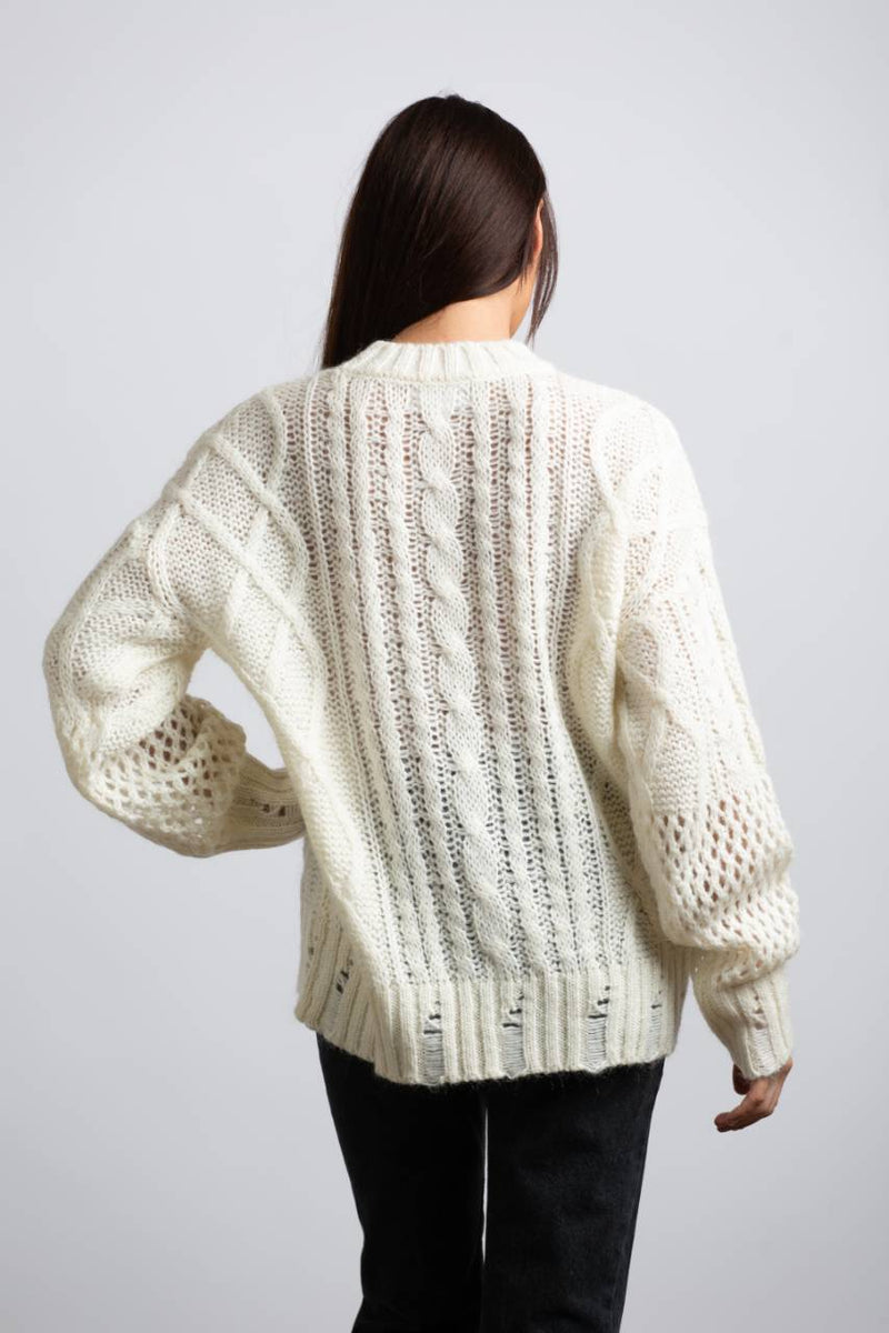 OPENWORK CABLE KNIT SWEATER - Trendy Fox Boutique