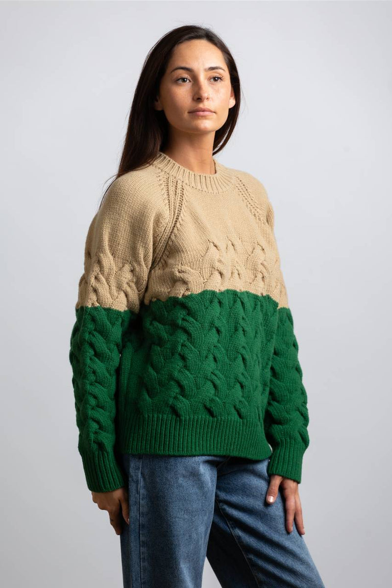 COLOR BLOCK KNITTED SWEATER, GREEN/ BEIGE - Trendy Fox Boutique