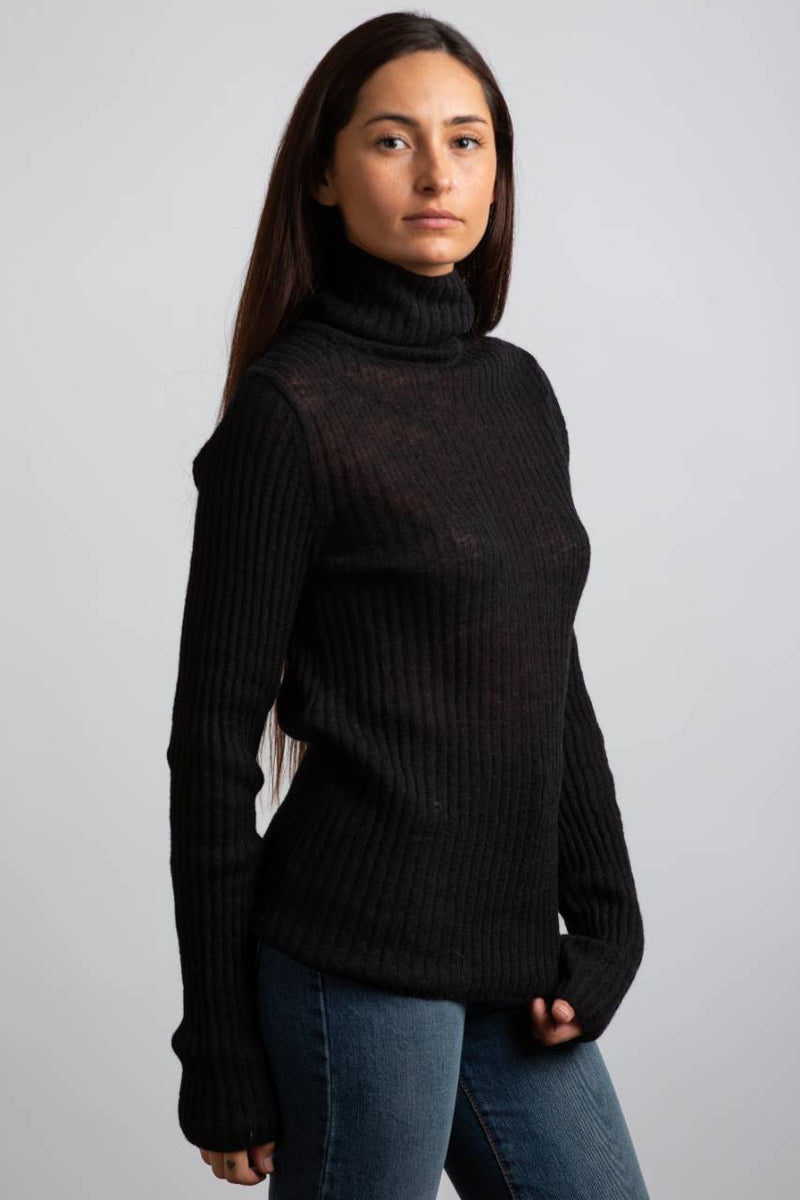 M0HAIR RIBBED TURTLENECK KNIT IN BLACK - Trendy Fox Boutique
