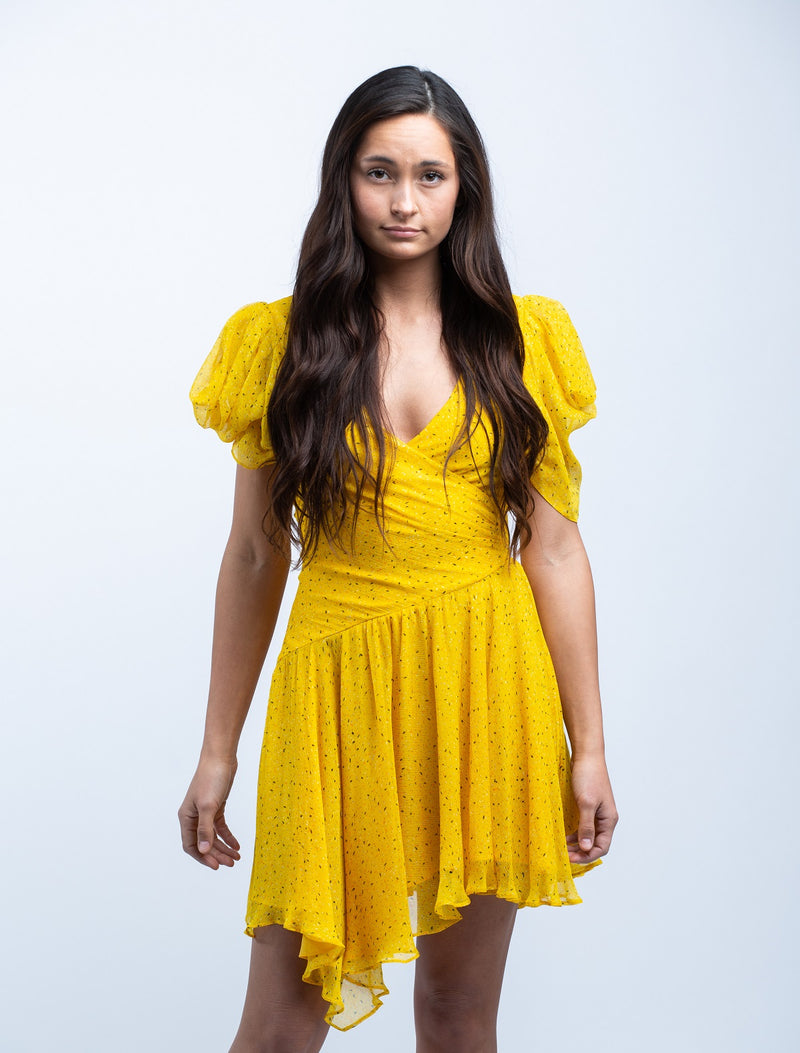 BEC & BRIDGE <br> Golden Hibiscus Mini Dress in Marigold Print - Trendy Fox Boutique