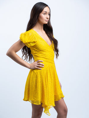 BEC & BRIDGE <br> Golden Hibiscus Mini Dress in Marigold Print