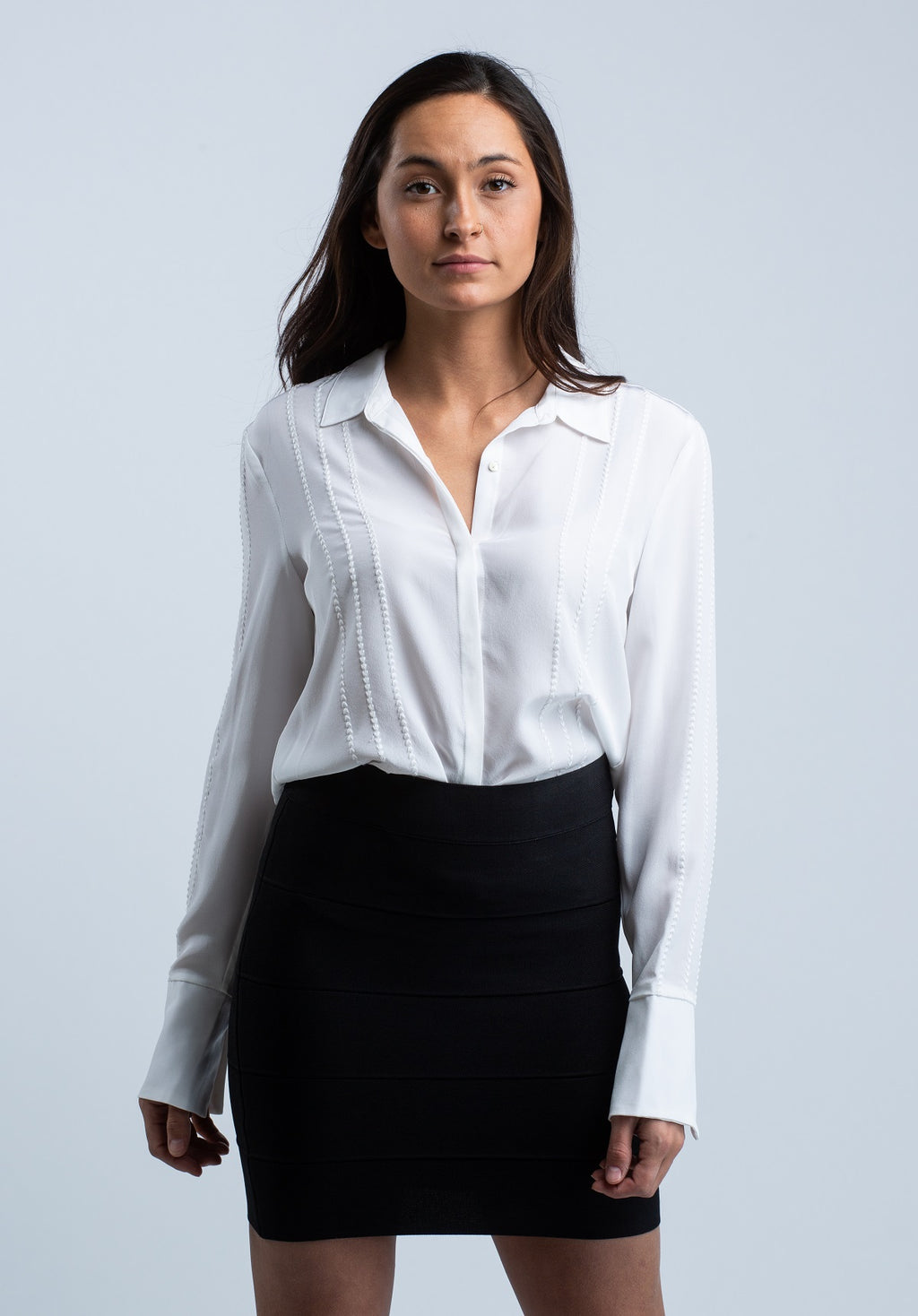 ECRU <br> The Selene White Button Silk Blouse - Trendy Fox Boutique