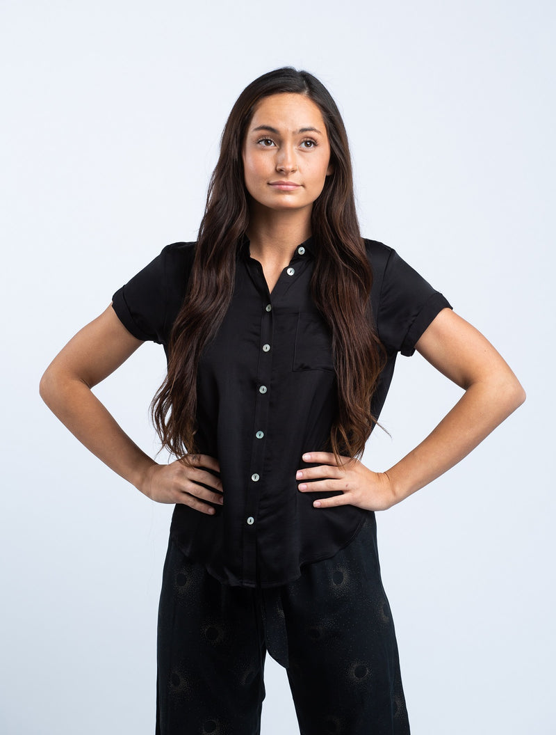 CHASER <br> Silky Rolled Button Down Shirt in Black - Trendy Fox Boutique