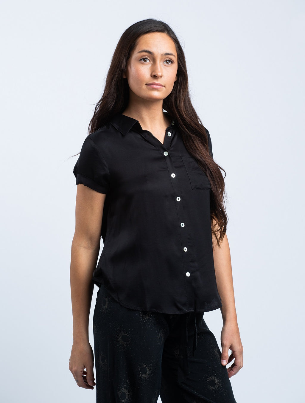 CHASER <br>  Silky Rolled Button Down Shirt in Black