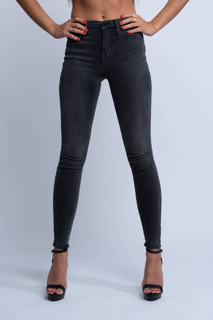 FRAME<br>Le High Skinny Side Frayed-Hem Jeans in Streep - Trendy Fox Boutique