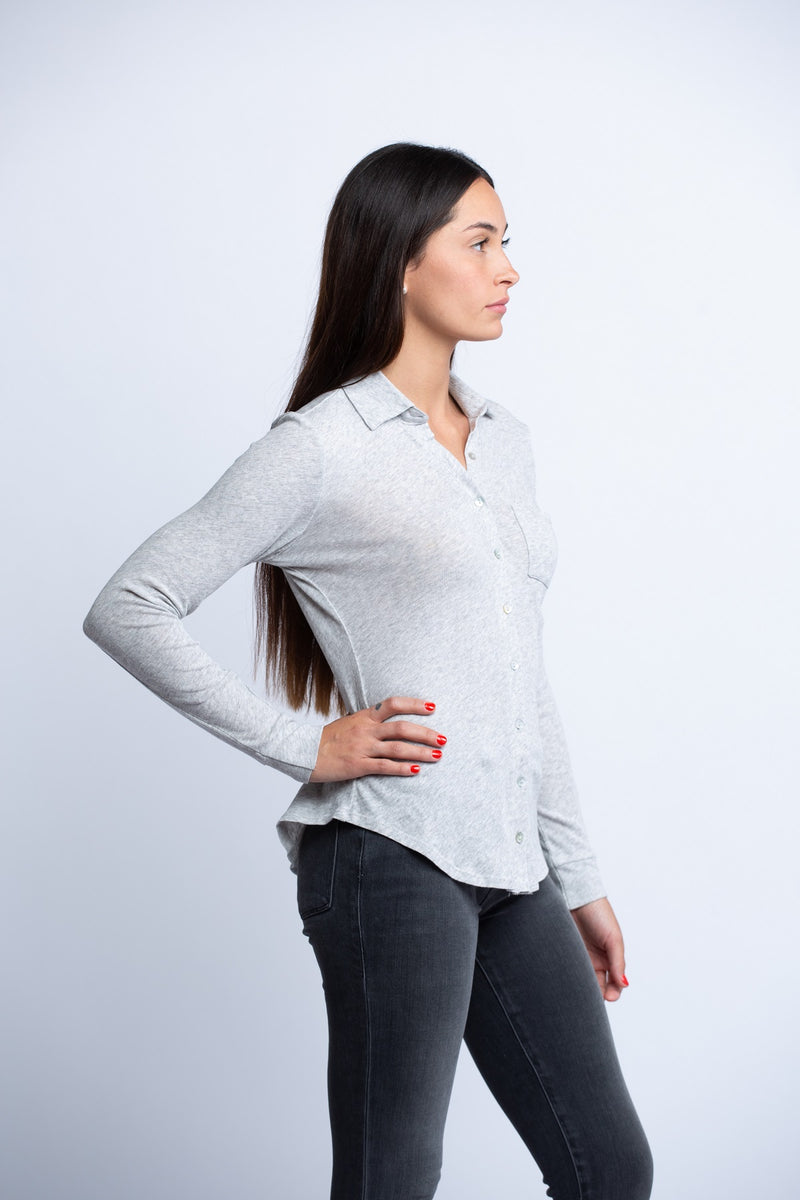 CHASER<br>Gauzy Cotton L/S Button Down Shirt W/Pocket - Trendy Fox Boutique