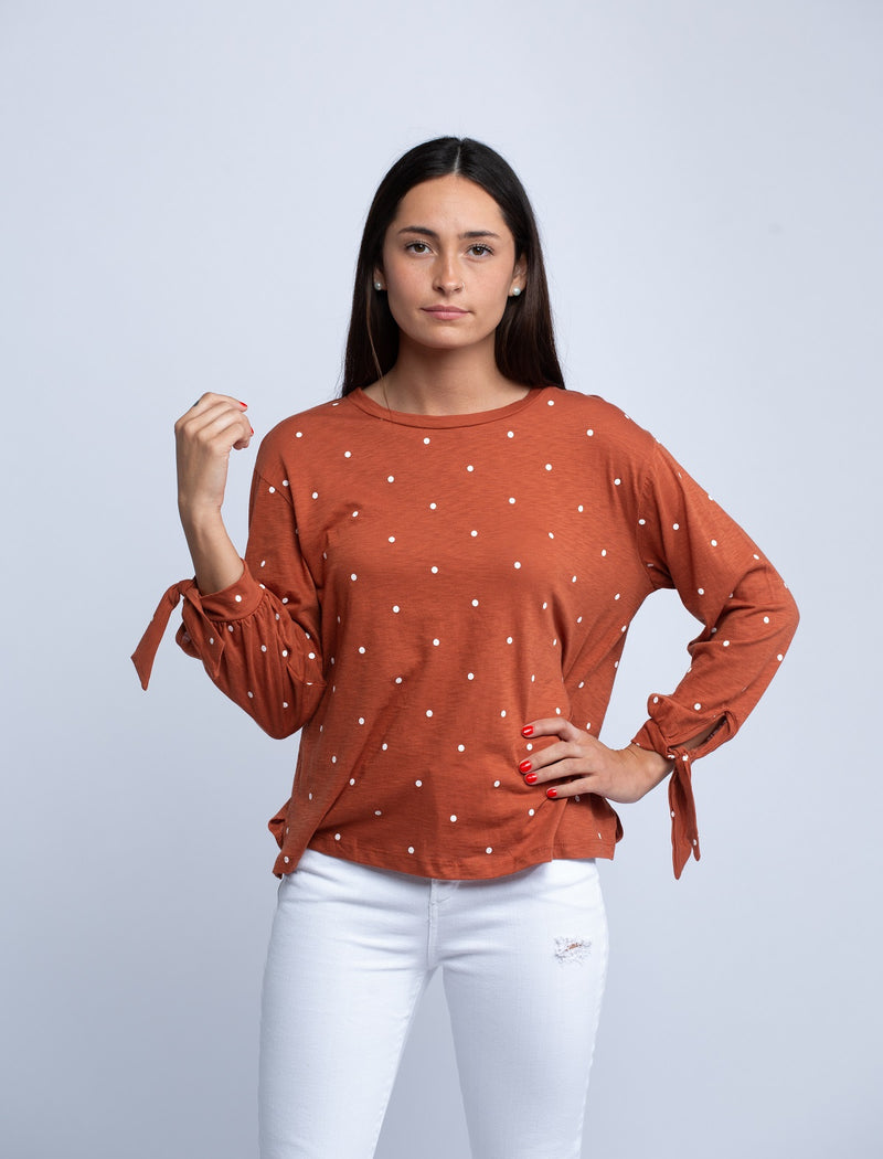 SUNDRY<br>Polka Dot Tie Sleeve Top