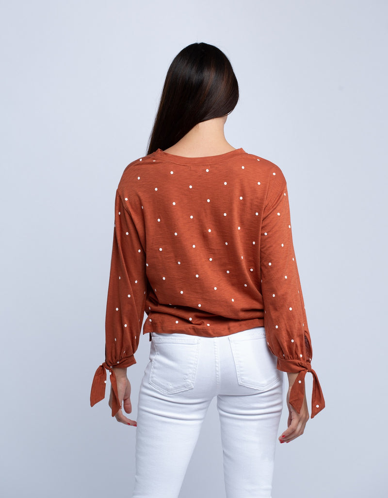 SUNDRY<br>Polka Dot Tie Sleeve Top - Trendy Fox Boutique