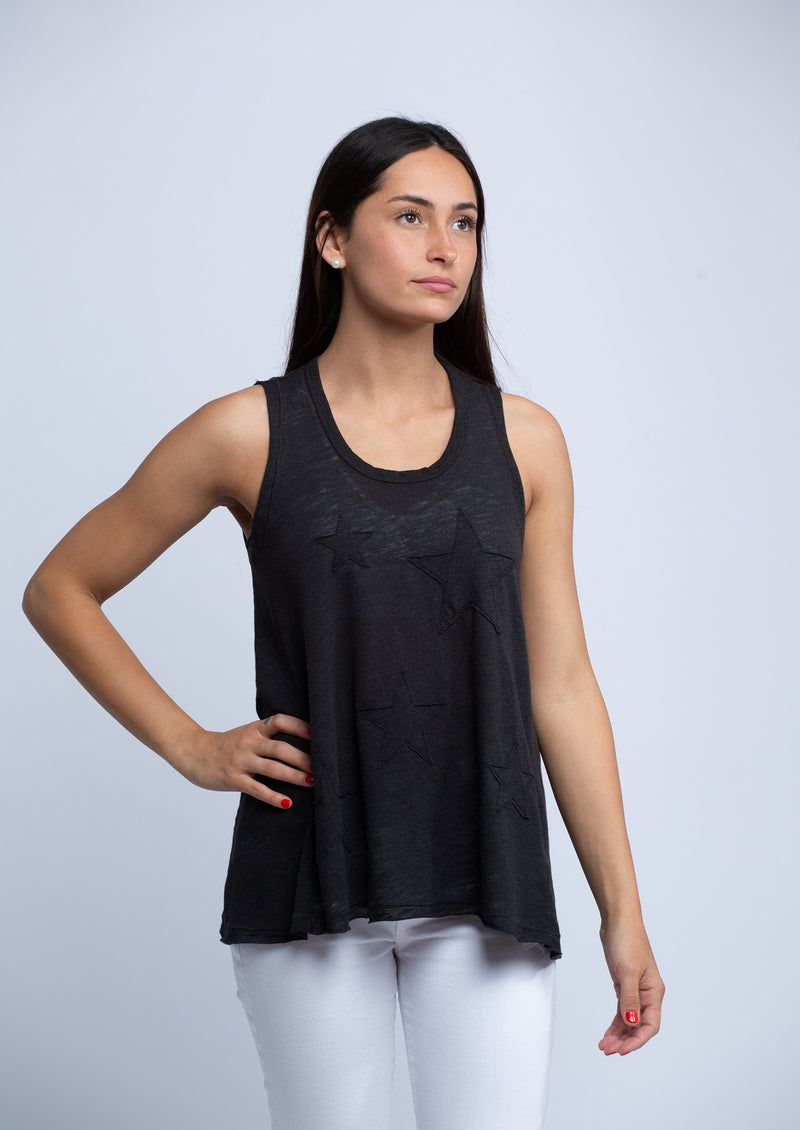 SUNDRY<br>Star Raw Tank Top in Black - Trendy Fox Boutique