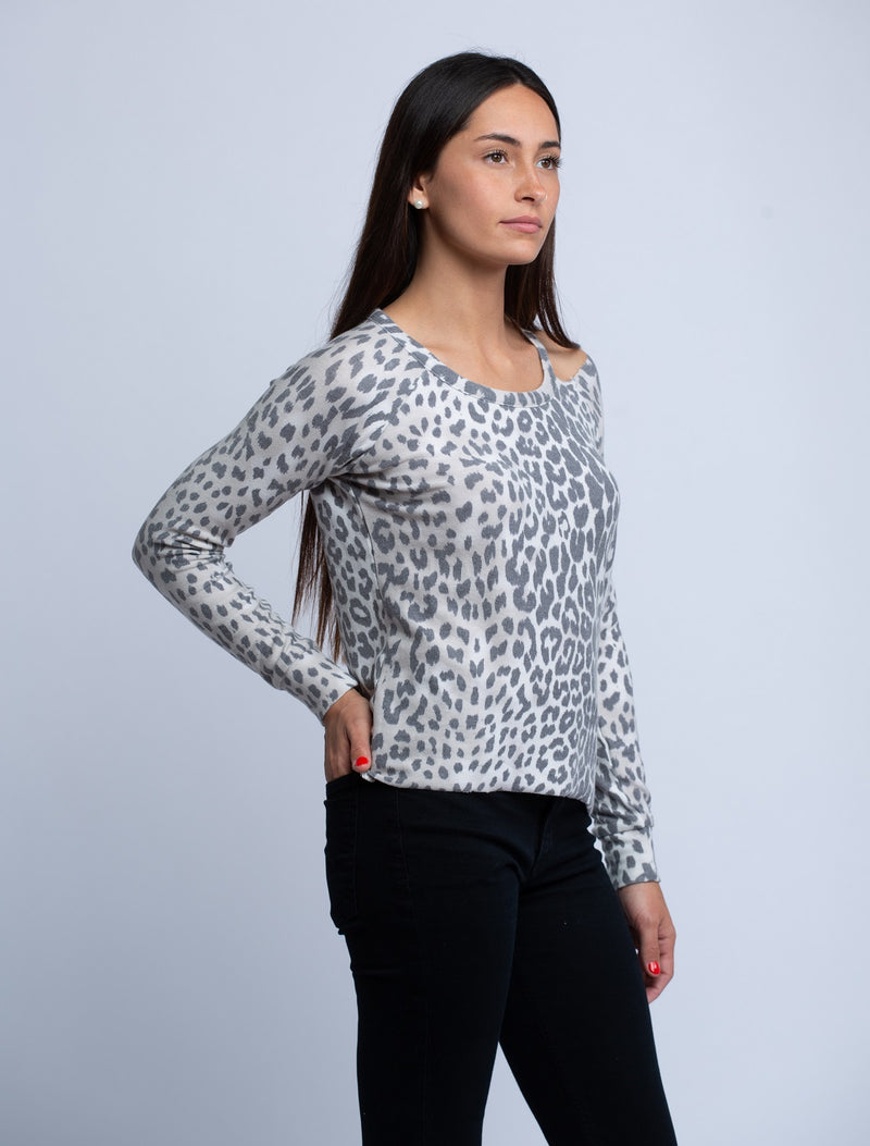 CHASER<br>Cozy Knit Vented Neck Pullover in Animal Print - Trendy Fox Boutique