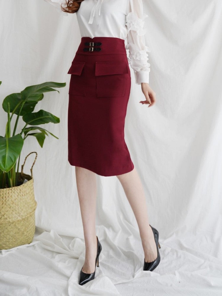 CLASSIC POCKET MIDI SKIRT - Trendy Fox Boutique