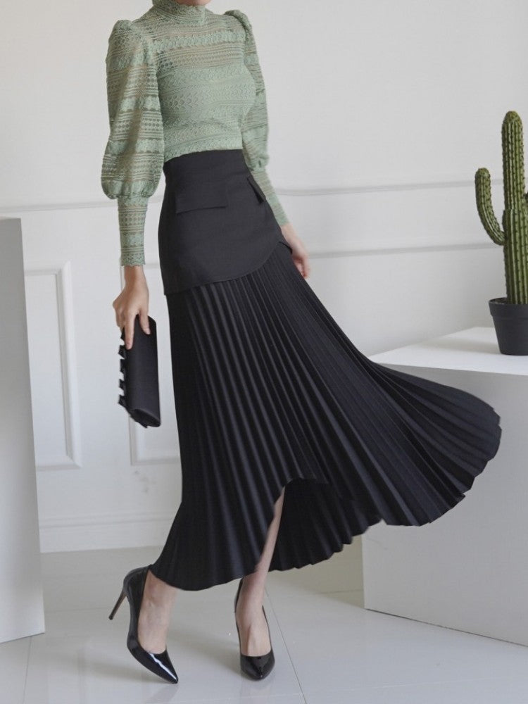 Pleated Asymmetric Long Skirt - Trendy Fox Boutique