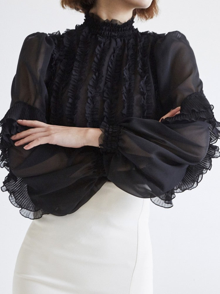 Ruffle Sheer Black Top - Trendy Fox Boutique