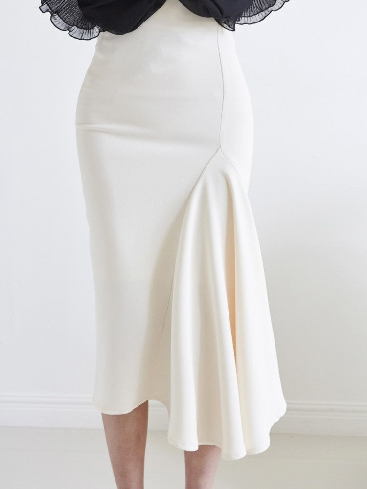 High Waisted Asymmetrical Hem Skirt - Trendy Fox Boutique