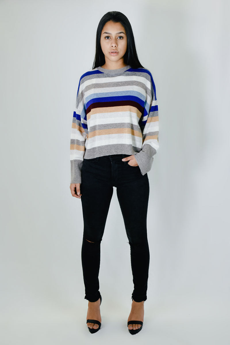 Multi Stripe Crew w/ Wide Sleeves <br> Autumn Cashmere