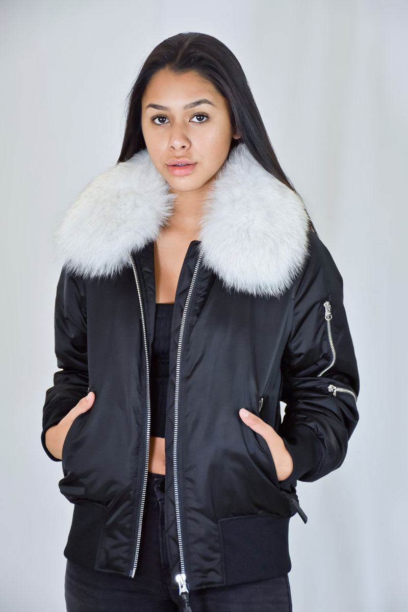 White Fur Collar Removeable Bomber Jacket Jacket in Black <br> Derek Lam 10 Crosby