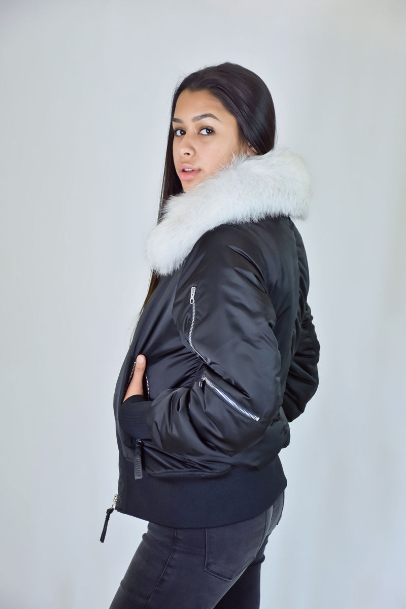 White Fur Collar Removeable Bomber Jacket Jacket in Black <br> Derek Lam 10 Crosby - Trendy Fox Boutique