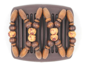 African Butterfly Chameleon Hair Comb - Beada Brown 25