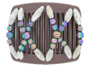 African Butterfly Chameleon Hair Comb - Dalena Brown 20