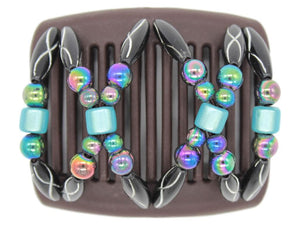African Butterfly Chameleon Hair Comb - Dalena Brown 22
