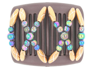 African Butterfly Chameleon Hair Comb - Dalena Brown 26