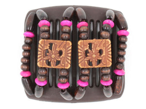 African Butterfly Chameleon Hair Comb - Dupla Brown 24