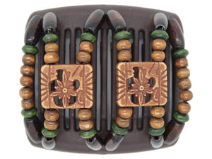 African Butterfly Chameleon Hair Comb - Dupla Brown 32