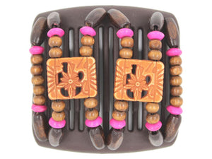 African Butterfly Chameleon Hair Comb - Dupla Brown 33