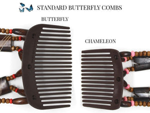 African Butterfly Chameleon Hair Comb - Ndebele Black 06