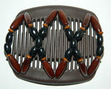 African Butterfly Hair Comb - Beada Brown 04