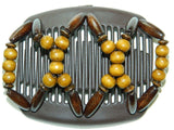 African Butterfly Hair Comb - Beada Brown 21