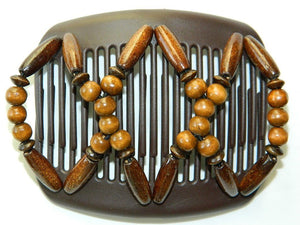 African Butterfly Hair Comb - Beada Brown 43