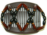 African Butterfly Hair Comb - Beada Brown 59