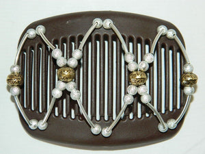 African Butterfly Hair Comb - Beada Tube Brown 32