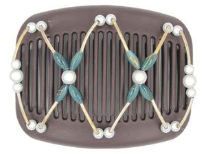 African Butterfly Hair Comb - Beada Tube Brown 49